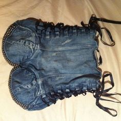 Image result for corseted jean skirt with lace