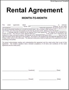 rental agreement word template