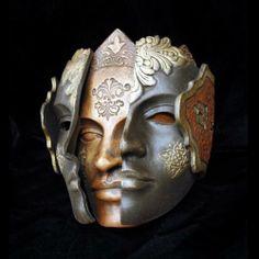 Two faced mask Mascara Papel Mache, Costume Venitien, Ceramic Mask, Cool Masks, Awesome Masks, Carnival Masks, Janus, Venetian Masks, Costumes