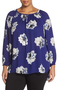 Vince Camuto 'Duet Floral' Peasant Blouse (Plus Size) available at #Nordstrom
