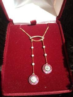 Antique Art Deco Diamond & Ruby Lavaliere Necklace by Tessey2, $3995.00
