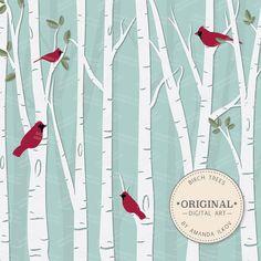 Premium Birch Tree Clipart & Vector Set Birch Tree by AmandaIlkov