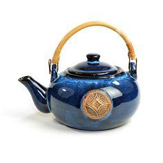 #Vintage #Retro #Oriental #Asian #Chinese #Cobalt #Blue #Teapot  Glazed #Stoneware #Ceramic #Kitchen #Decor by OneRustyNail on #Etsy