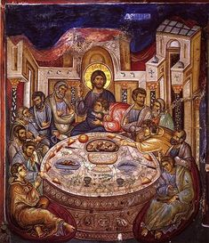 Byzantine Iconography - Jesus Christ Last Supper / Тайная Вечеря Religious Images, Religious Icons, Religious Art, Byzantine Icons, Byzantine Art, Religion, Russian Icons, Last Supper, Catholic Art