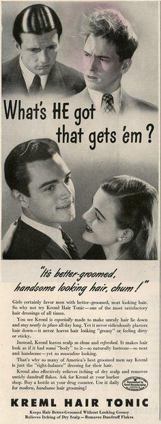 1945 ad for Kreml Hair Tonic: