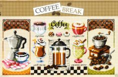 """Coffee Break"" Counted cross stitch pattern leaflet. Big Chart."
