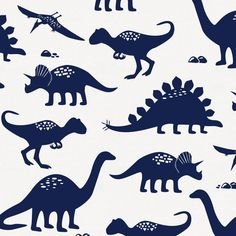 Onyx Dinosaurs Fabric by Carousel Designs. Onyx dinosaurs fabric printed on antique white background. Fabric is cut to order in one continuous piece. This is an organic cotton, wide, medium weight fabric. Toddler Comforter, Toddler Pillow, Hobbies For Girls, Dinosaur Silhouette, Dinosaur Fabric, Toddler Sheets, Carousel Designs, Oeko Tex 100, Welding Projects
