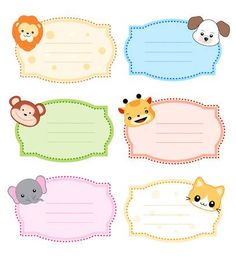 Illustration of Colorful kids name tags /labels with cute animal faces on corners vector art, clipart and stock vectors. Printable Name Tags, Printable Animals, Colorful Animals, Cute Animals, Name Tag For School, 2 Birthday, Nametags For Kids, Ramadan Cards, Peanut Baby Shower