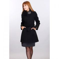Slimming Turtleneck Solid Color and Waistband Design Women's Wool Blended Coat #norwegian cruises, #bahamas cruises, #cruises vacation, #cruises ideas, #princess cruises