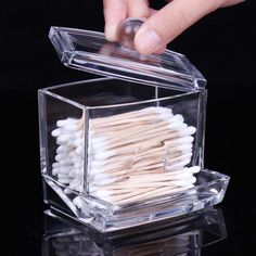 Clear Acrylic Makeup Cotton Holder Toothpick Case Swab Stick Box Storage Caser02 #Unbranded
