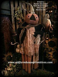 Primitive Fall Harvest Pumpkin Head Doll (Made In USA) PRE-ORDER