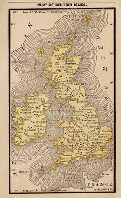 RARE Antique UNITED KINGDOM Map British Isles 1886 RARE MINIATURE Map 2249 Vintage Maps, Antique Maps, Rare Antique, World History Map, Karten Tattoos, United Kingdom Map, Map Of Britain, England Map, World Map Decor