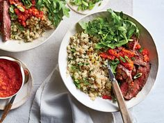"""Skirt Steak and Cauliflower Rice with Red Pepper Sauce Recipe 