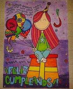 Entrega de hoy✔ Pancarta de cumpleaños para un regalo especial #amigos #detalle #happybirthday. Para encargos, consulte disponibilidad a través del direct Diy Birthday, Birthday Gifts, Grammar Book, Cute Messages, Baby Party, Home Interior, Hand Lettering, Bff, Diy And Crafts