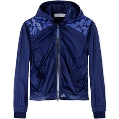 Adidas By Stella Mccartney Printed Windbreaker (€200) ❤ liked on Polyvore featuring activewear, activewear jackets, blue, adidas, logo sportswear, adidas activewear and adidas sportswear