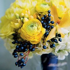 Bold Sapphire Berry Wedding Bouquet - Blue Wedding Flowers - Southern Living