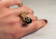Onyx Ring, Gem Ring, Heart Shaped Ring, Solitaire Ring, Gold Plated Ring, Wire Wrapped Ring, July Birthstone, December Mythical Birthstone