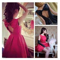 primavera novo 2014 d5812 backless grande arco mulheres vestido sexy frete grátis venda quente preto vermelho coreano slim menina vestido alta qualidade 13.68