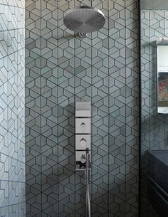 Half Hex Mix (shown here in fog) is part of Heath Ceramics' Dwell Pattern collection, produced with the help of Dwell's design team. Photo 5 of 7 in Eco-Friendly Tile Designs for Spring by Jacqueline Leahy Heath Ceramics Tile, Heath Tile, Bad Inspiration, Bathroom Inspiration, Interior Inspiration, Bathroom Tile Designs, Tile Installation, Tile Patterns, Floor Patterns