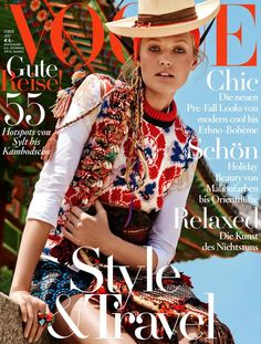awesome Toni Garrn models folk style for Giampaolo Sgura in Vogue Germany July 2015  [Cover]