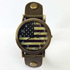 US Flag Watch, American flag, Retro Leather Watch, Mens Watch, Women Watches, Unisex Watch,  Boyfriend Watch, Vintage Green