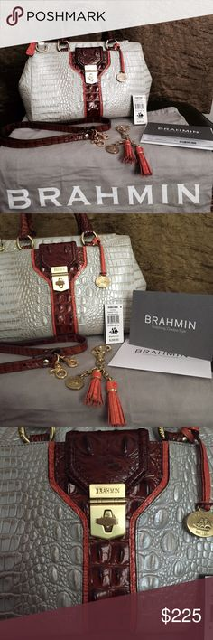 Brahmin Courtney Seashell Tri-Color handbag Gorgeous crocodile embossed leather satchel. Seashell pearlescent body with pecan and coral/orange trim. Double handles with detachable/adjustable strap. Zip closure, footed bottom, and plenty of interior space. Finished with gold brass plated hardware. Includes hang tassel/charm medallion($35). Very minor scratches on the front hardware. **Complete with registration card and dust bag Brahmin Bags Satchels