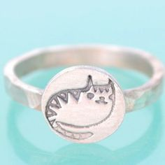 Silver Kitty Stacking Ring