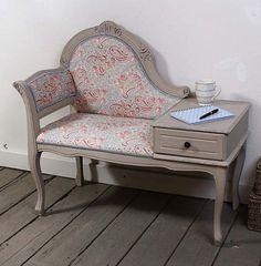 Sweet heavenly love I probably need this old school telephone table.  Katie Bonas is my new favorite vintage furniture restorer.