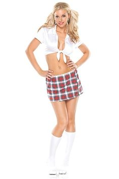 Sexy Schoolgirl Plaid Skirt Outfit