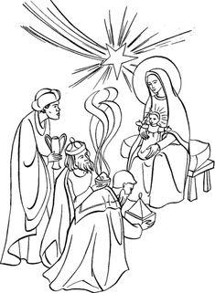 Feast of the Epiphany Coloring Page.  Adoration of the Magi to colour.  L' Epiphanie: Adoration des Mages | Avec Marie, les enfants du monde prient pour la paix et les vocations