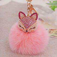 Artificial Rabbit Fur Ball Keychain Fox Head Inlay Rhinestone Car Key Chain Handbag Key Ring Delicate 2017 New Gift