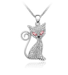LooPoP Cat Pendant Necklace Jewelry for Women Kids Gifts Included Free Charm Chain Vintage Map