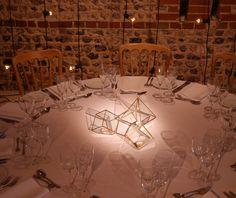 Festoon cascade backdrop, brass terrarium lanterns and pinspot lighting for a barn wedding at Upwaltham Barns by www.stressfreehire.com #venuetransformers