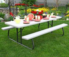 Lifetime Folding Picnic Tables - 480123 Putty Color Commercial 8 Ft. Picnic Table