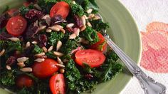 Kale Salad with Cranberries, Tomatoes, Sunflower Seeds and Homemade Lemon Olive Oil Dressing