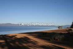 A lake-side beach campground view from Nevada Beach Campground. Click the photo for more info.