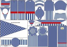 Blue Stripes and White Polka Dots: Free Party Printables.
