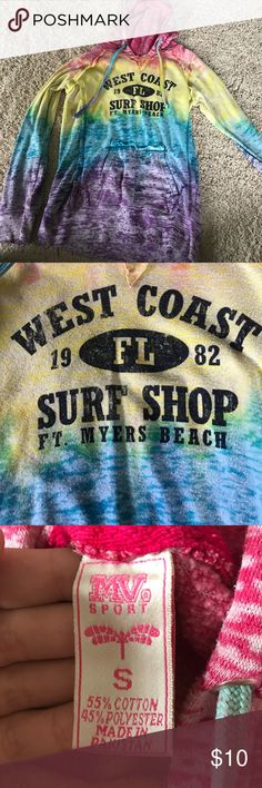 "Sweatshirt Rainbow sweatshirt, says ""West Coast Florida Surf Shop Ft. Myers Beach"" Tops Sweatshirts & Hoodies"