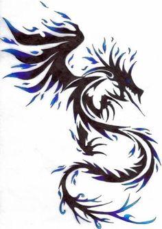 Green tattoo dragon postcard tribal dragon