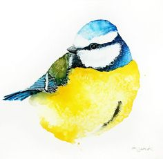 ARTFINDER: Blue Tit-Original watercolors painting by Karolina Kijak -  Original watercolors of Blue Tit Paper 300g  100% cotton, high quality pigments size 18x18cm  Follow me on facebook: https://www.facebook.com/kijakwater...