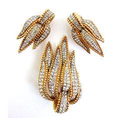 CINER Pave' Rhinestone Brooch Earrings Set, Gold Plate Trim, Vintage ($85) ❤ liked on Polyvore featuring jewelry, earrings, vintage jewelry, ciner jewelry, vintage jewellery, vintage rhinestone earrings and rhinestone stud earrings
