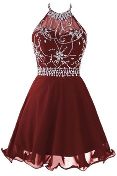 Image of Cute Burgundy Short Chiffon Halter Prom dresses with Beadings, Homecoming Dresses