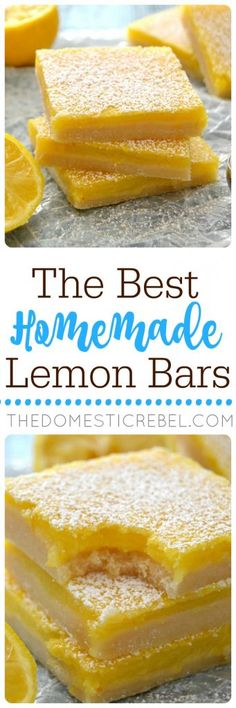 These Homemade Lemon Bars truly are THE BEST! Classic, perfect and EASY with a bright, fresh lemon flavor in one gooey, buttery bar!