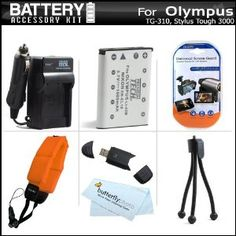 Battery And Charger Kit For Olympus Tough TG-320, TG-310, Stylus Tough 3000 Digital Camera Includes Extended (1000Mah) Replacement LI-42B Battery + AC/DC Charger + Strap Float + USB 2.0 SD Reader + Mini Tabletop Tripod + LCD Screen Protectors + More by ButterflyPhoto. $19.95. This Kit Includes Some Of The Essential Accessories You Need To Take Full Advantage Of Your New Olympus TG-320, TG-310, Stylus Tough 3000 Digital Camera Product Description Kit Includes:♦ 1) Vidpro - ...