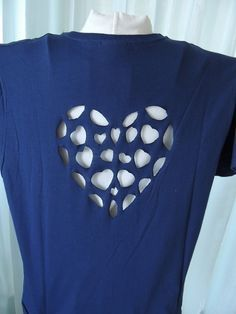 Navy Redesigned Tshirt, Cut Out Back T Shirt, Heart Cut Out Top, Embroidered Shirt, Womens Recycled Top, Slit Shirt via Etsy