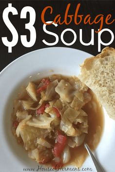 This cabbage soup recipe is so good! It pairs perfectly with chilly weather and it is very inexpensive to make—only $2.42. If you are meal planning on a tight budget and want to make a simple meal everyone will love, you can't go wrong with this recipe! Oh, and did I mention it is 0 SmartPoints for Weight Watchers?