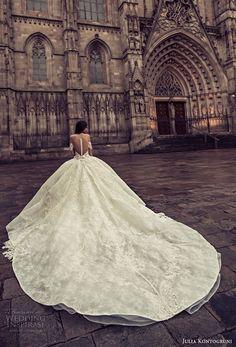 julia kontogruni 2018 bridal long sleeves sweetheart neckline full embelllishment princess ball gown wedding dress sheer button back royal train (1) bv -- Julia Kontogruni 2018 Wedding Dresses
