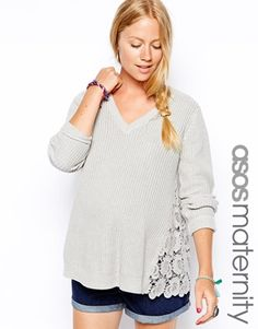 ASOS Maternity Jumper With Lace Side Panels