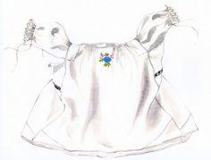 Rukávce, Úpor, prvá štvrtina 20. storočia. Rukávce, opľečko je ušité z tenkého kupovaného bavlneného plátna, šifónu, rovného strihu, s rukávmi kolmo prišitými. Konce rukávov má nazberané a stiahnuté do taclí, ktoré zdobí biela dierková výšivka. Siahalo do výšky bokov, spolu s rubášom, podolkom tvorili základ ženského odevu. Rukávce z tenkého kupovaného domáceho plátna plátna sa nosili vo sviatočné dni. Na všedné dni boli rukávce z domáceho bavlneného plátna. V prvej štvrtine 20. storočia sa ... Drawstring Backpack, Backpacks, Bags, Fashion, Handbags, Moda, Fashion Styles, Backpack, Fashion Illustrations