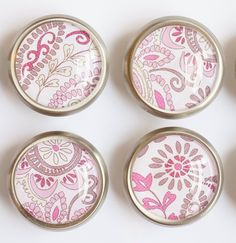 Pink Paisley Glass Knobs- Brass or Brushed Nickel by MyDearWatsonDesigns on Etsy